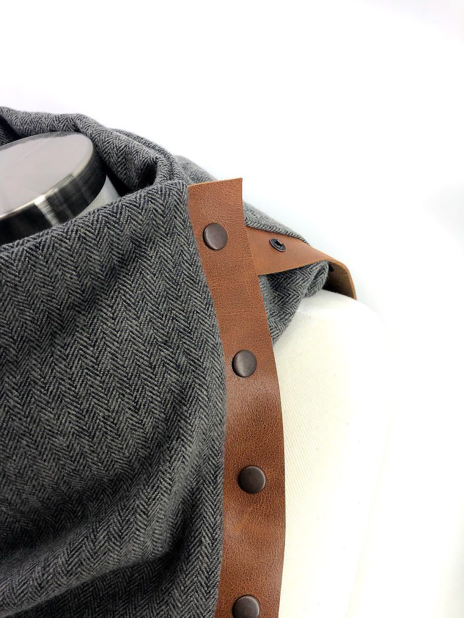 Black & Gray Herringbone Multi Snap Scarf with Leather Snaps
