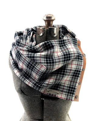 Black White & Red Sm Plaid Multi Snap Scarf with Leather Snaps