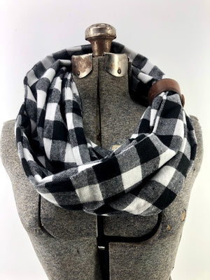 Black & White Buffalo Check Eternity Scarf with a Leather Cuff