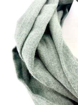 Basil Herringbone Eternity Scarf with a Leather Cuff