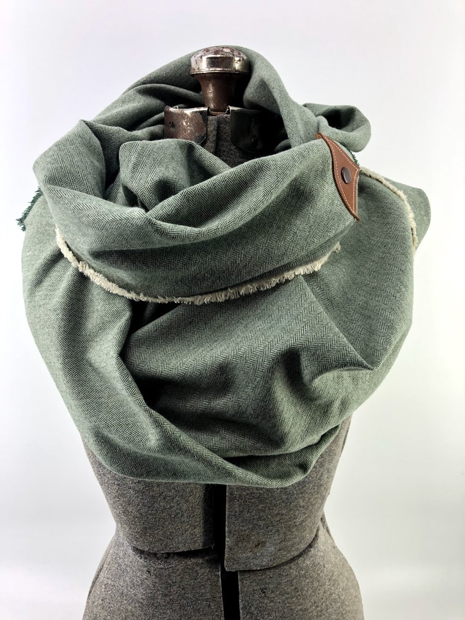 Basil Herringbone Blanket Scarf with Leather Detail