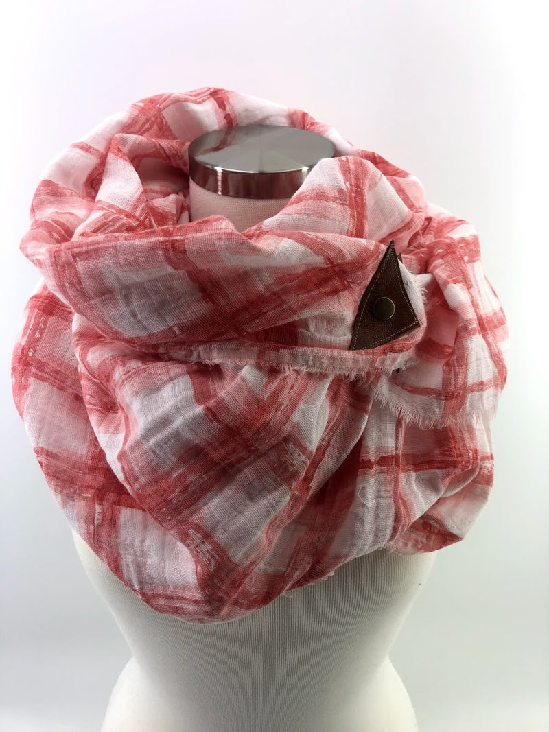 Bermuda Red Tie-dye Gauze Blanket Scarf with Leather Detail