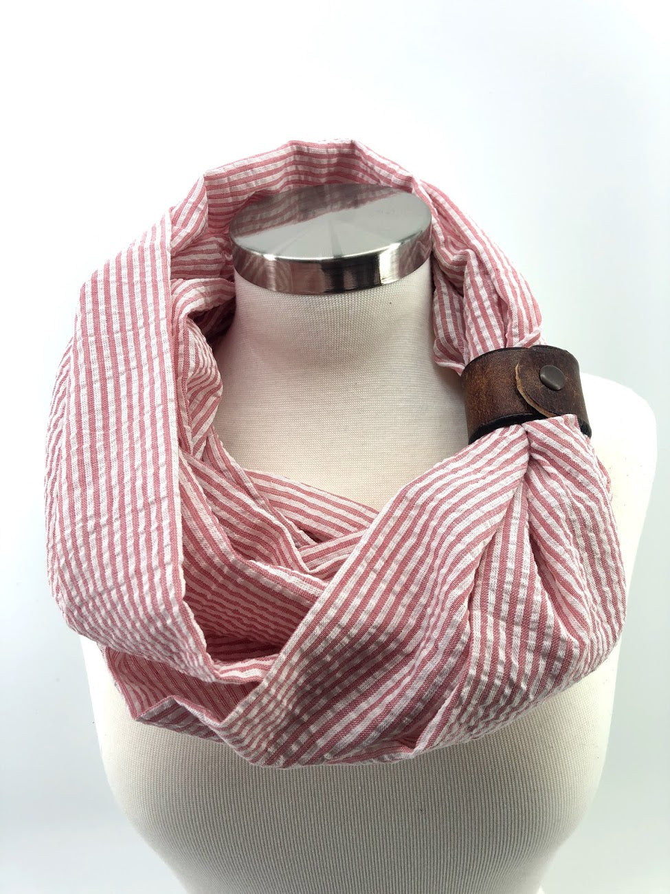Bermuda Red Seersucker Eternity Scarf with a Leather Cuff