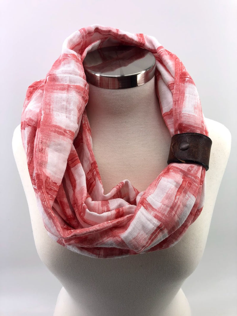 Bermuda Red Tie-dye Gauze Eternity Scarf with a Leather Cuff