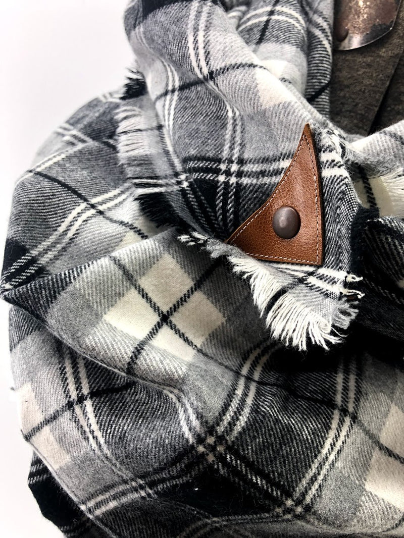 Black Cream & Gray Plaid Blanket Scarf with Leather Detail