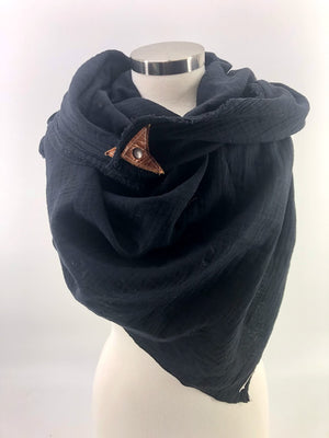 Black Gauze Blanket Scarf with Leather Detail