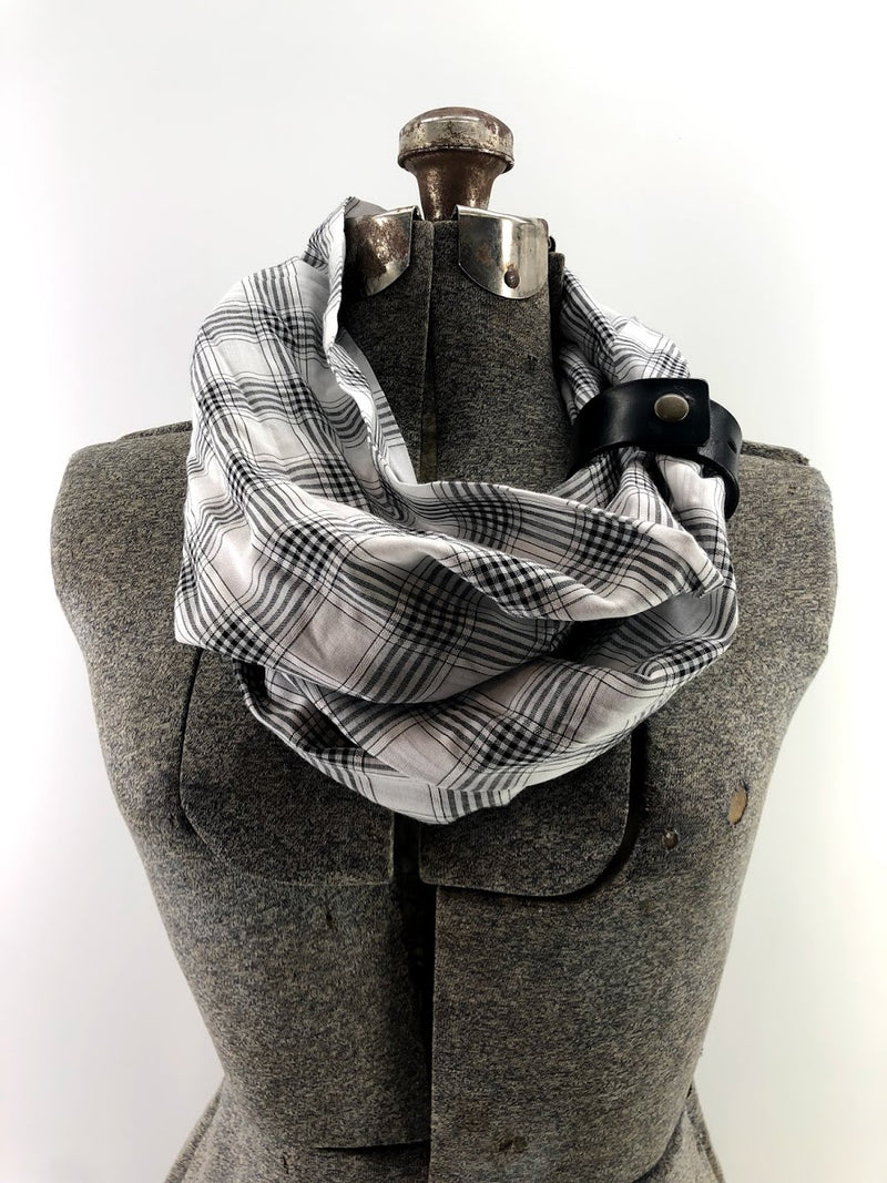 Black Small Plaid Eternity Scarf with a Leather Cuff