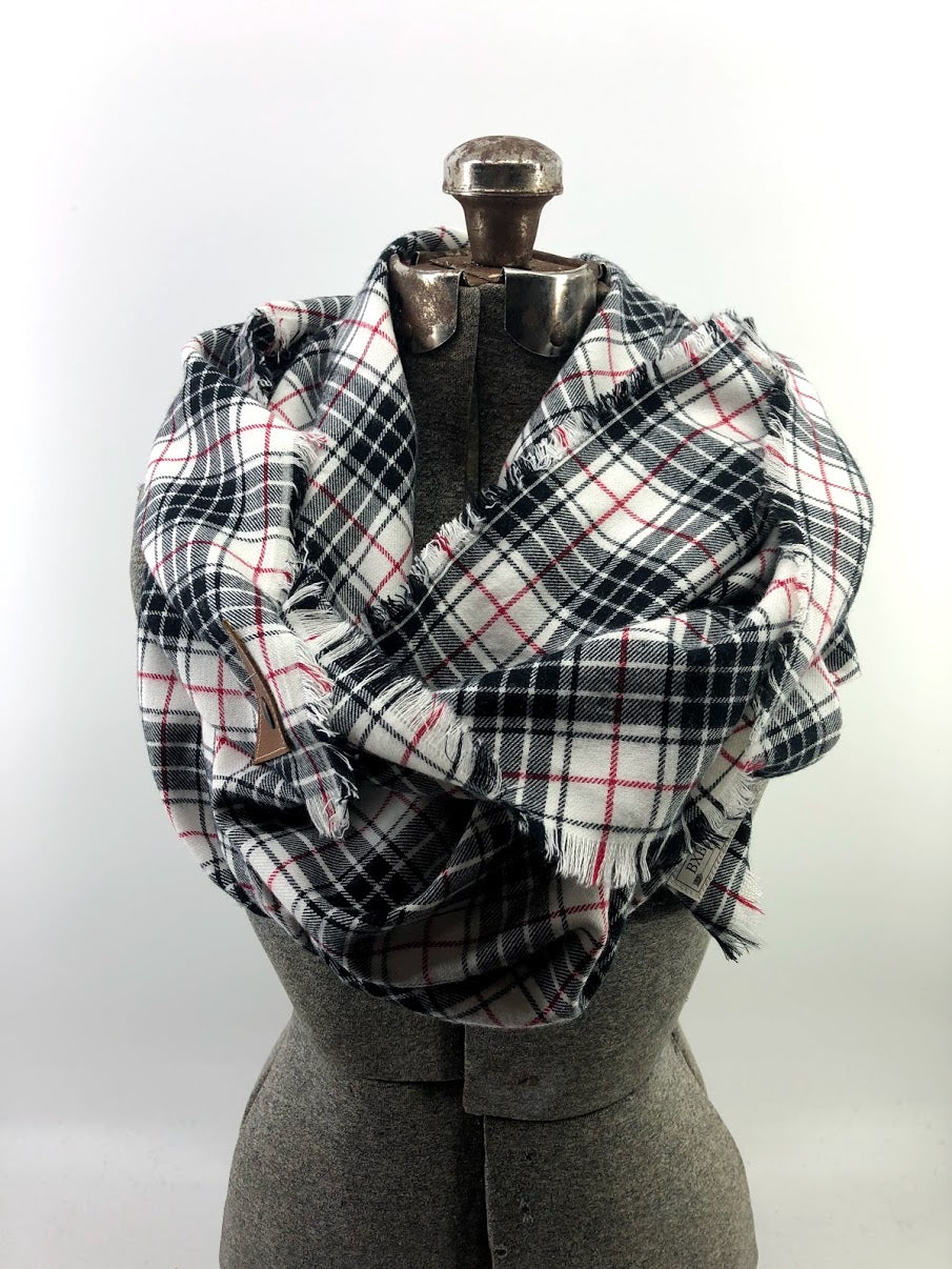 Black White & Red Sm Plaid Blanket Scarf with Leather Detail