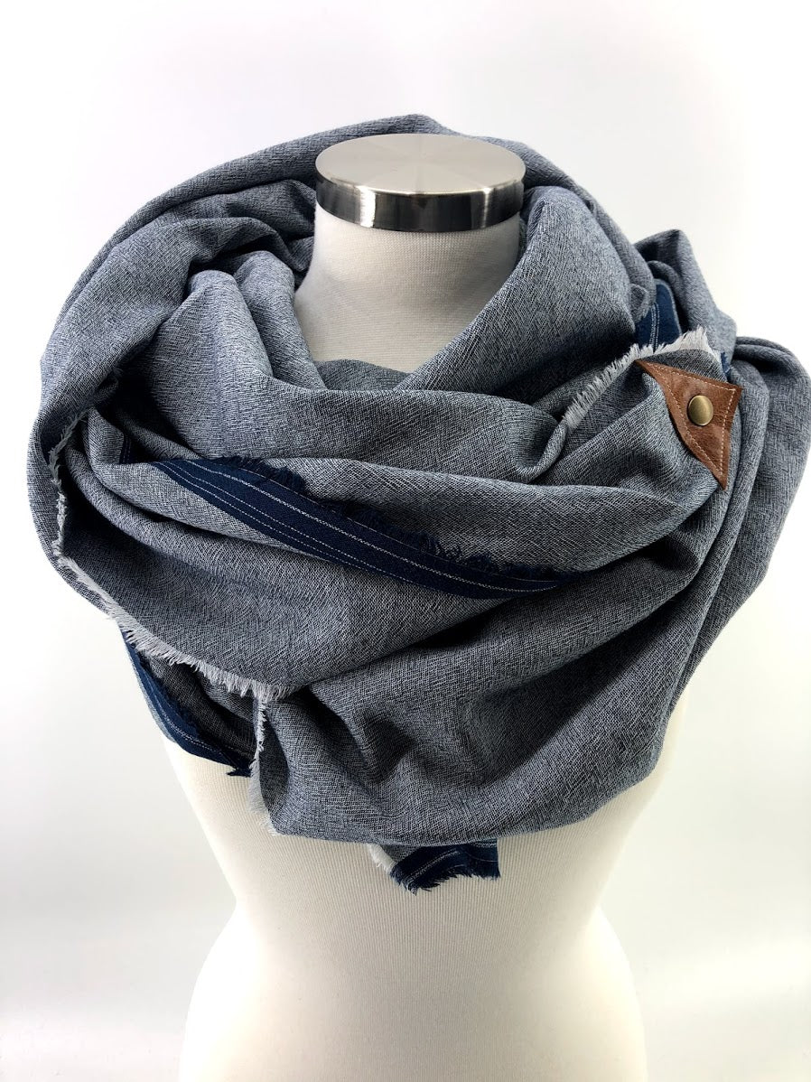 Chambray Gauze Blanket Scarf with Leather Detail