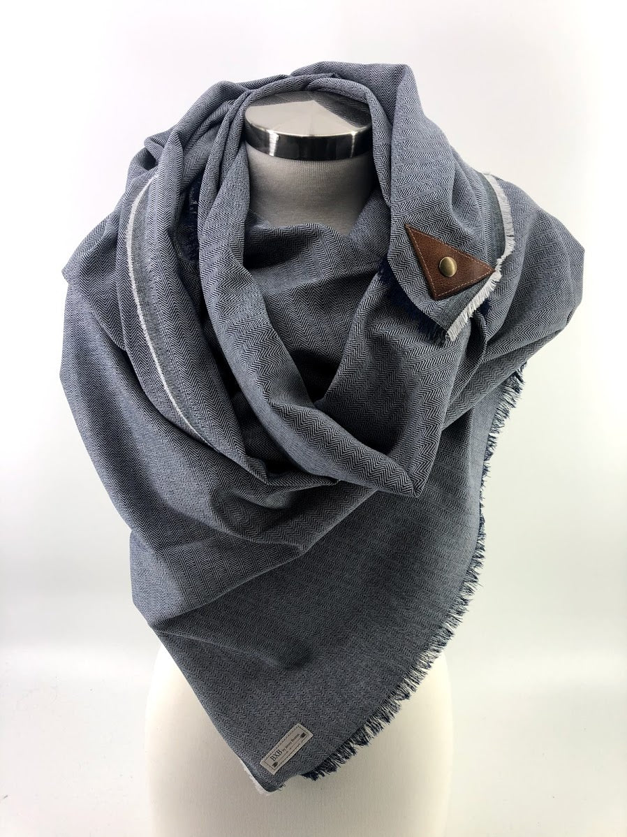 Navy Herringbone Lighter Weight Blanket Scarf with Leather Detail
