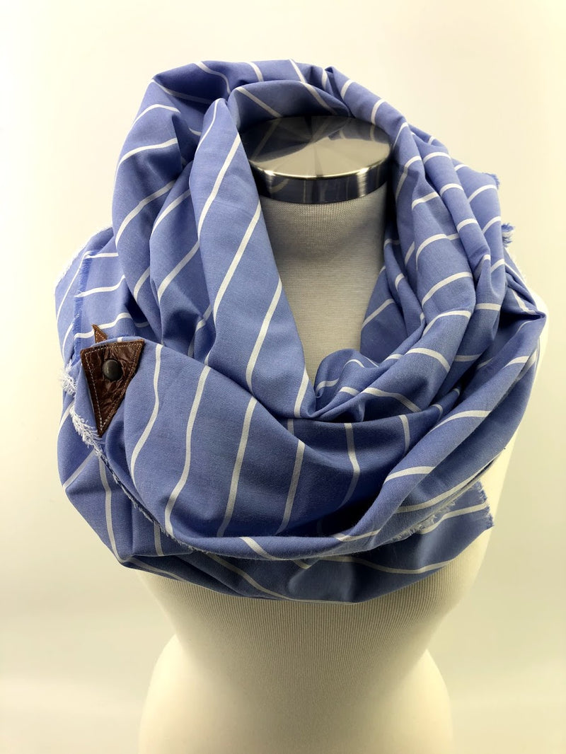 Sky Blue & White Thin Striped Blanket Scarf with Leather Detail