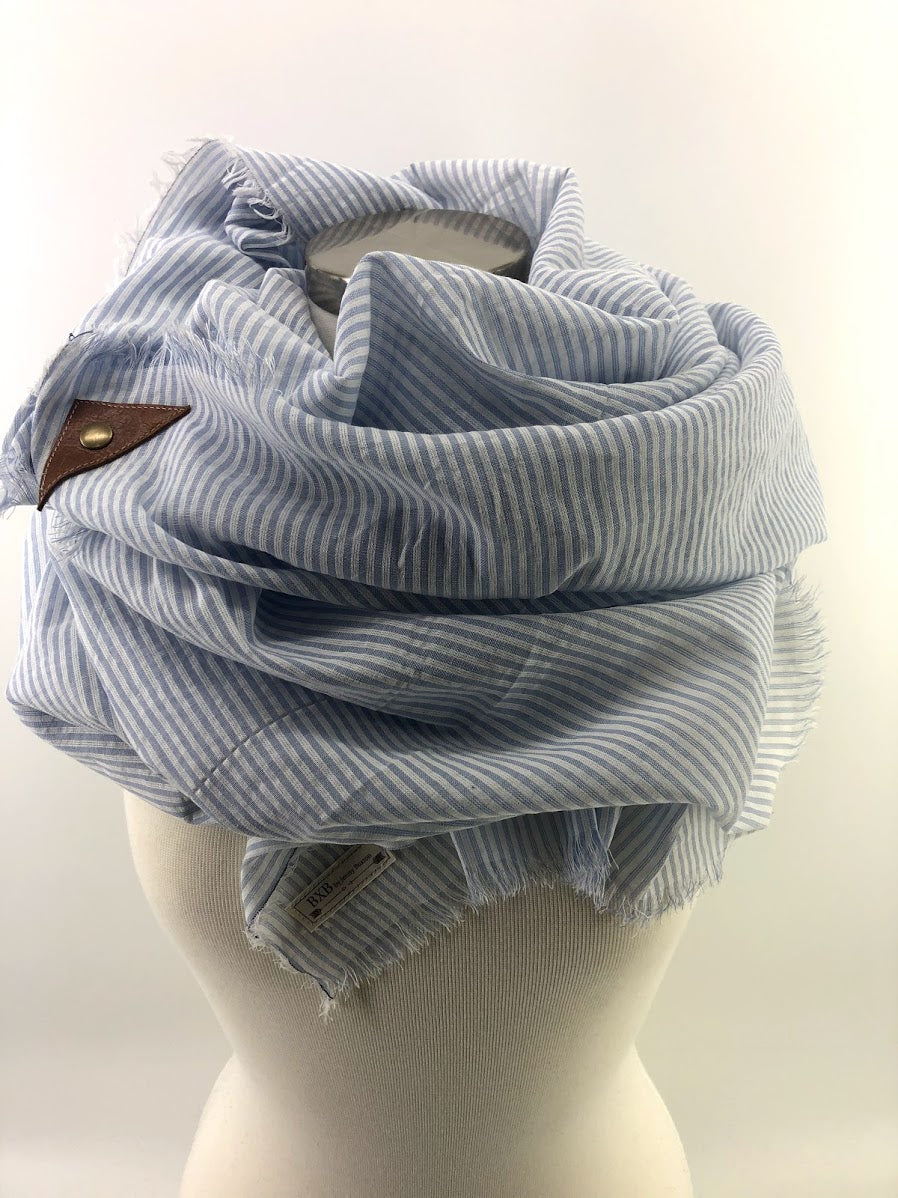 Light Blue Seersucker Blanket Scarf with Leather Detail