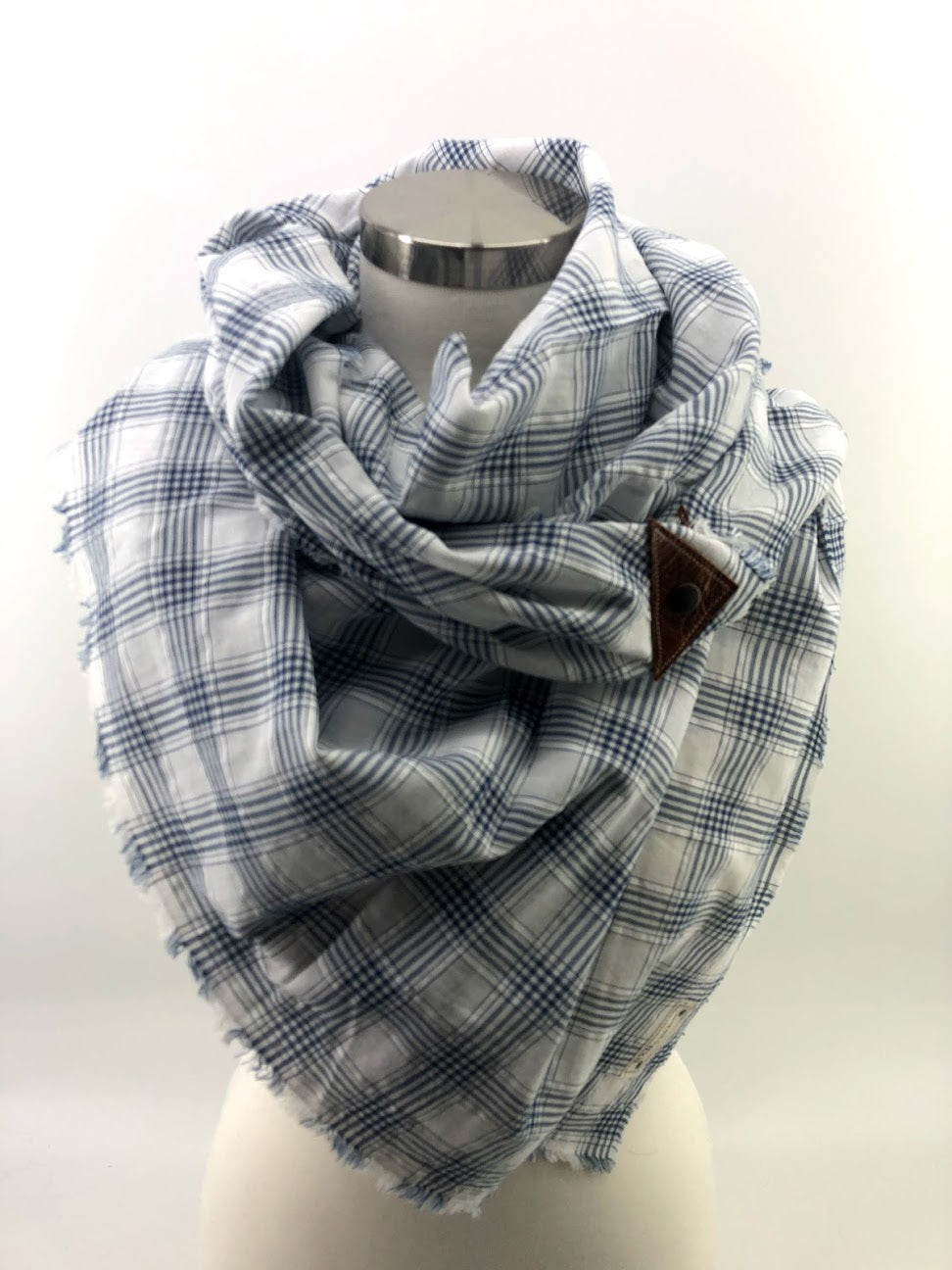Navy & White Small Plaid Blanket Scarf with Leather Detail