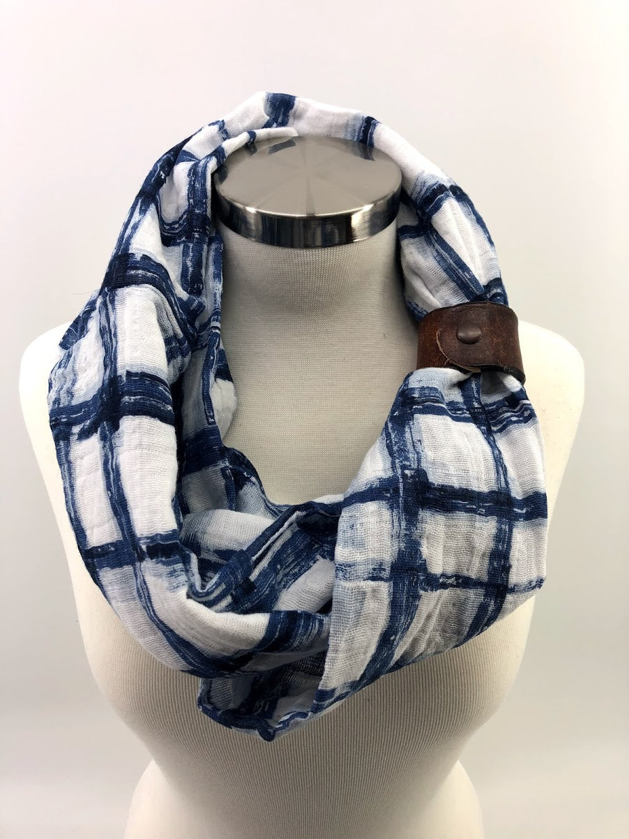 Blue Tie-Dye Gauze Eternity Scarf with a Leather Cuff