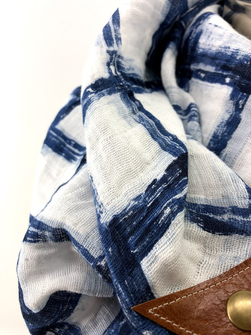 Blue Tie-dye Gauze Blanket Scarf with Leather Detail