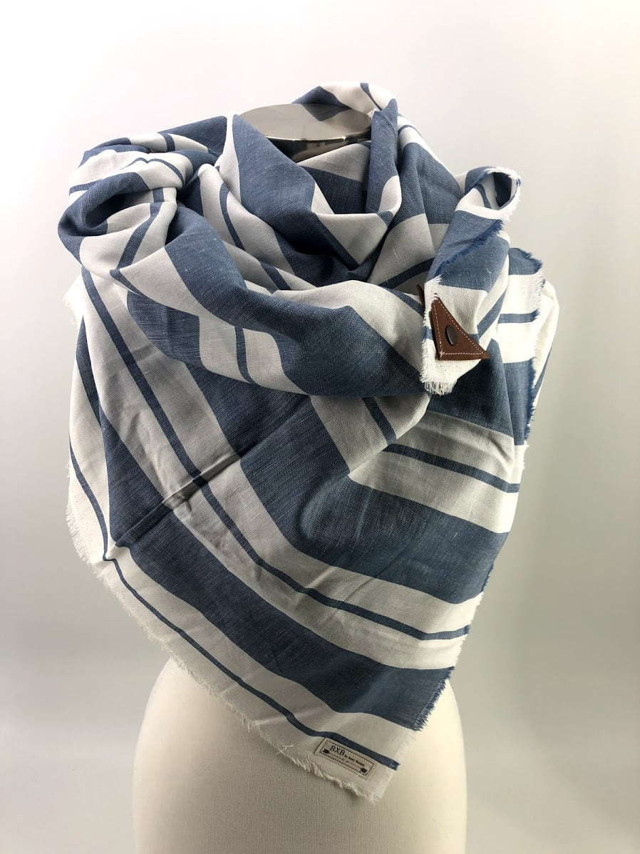 Light Blue Wide Stripe Linen Blanket Scarf with Leather Detail