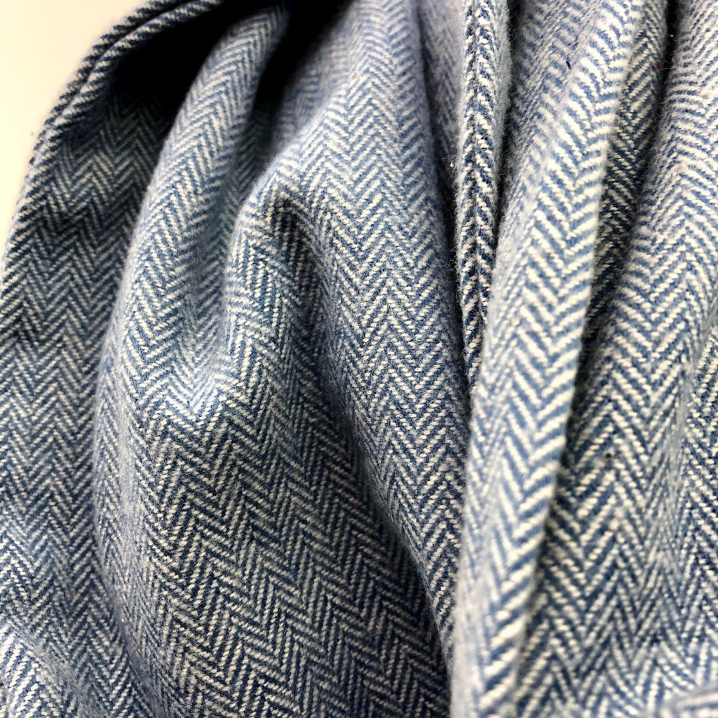 Bright Blue Herringbone Eternity Scarf with a Leather Cuff