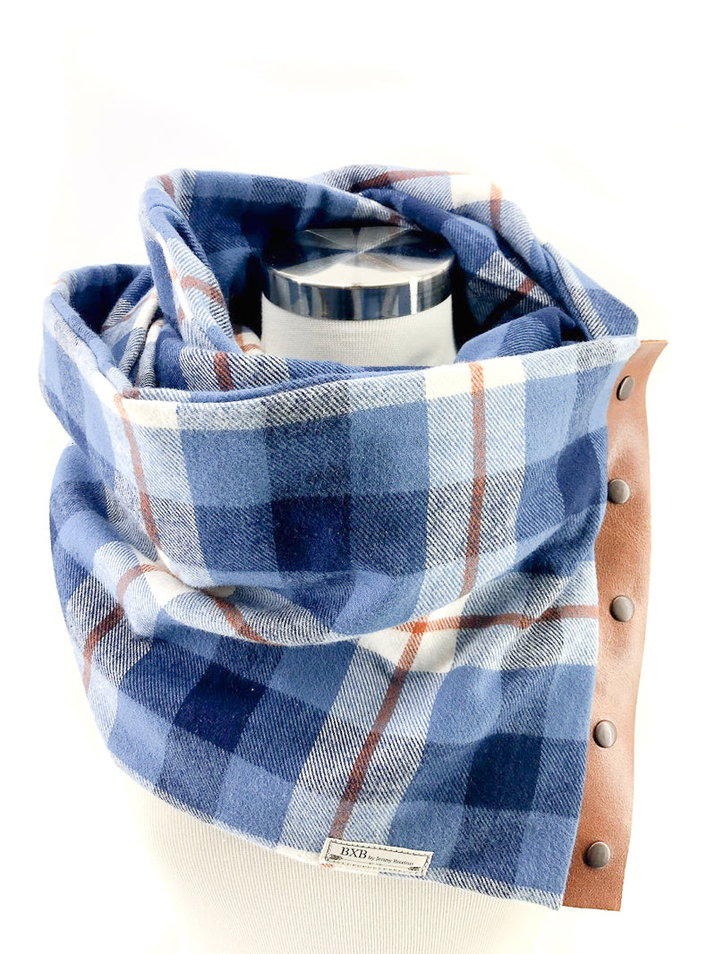 Blue & Rust Plaid (New) Multi Snap Scarf with Leather Snaps