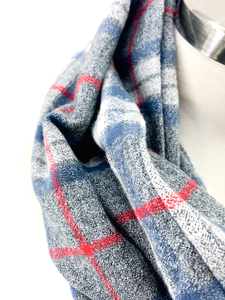 Blue White & Red Plaid Eternity Scarf with a Leather Cuff