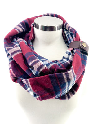 Burgundy Plaid (New) Eternity Scarf with a Leather Cuff