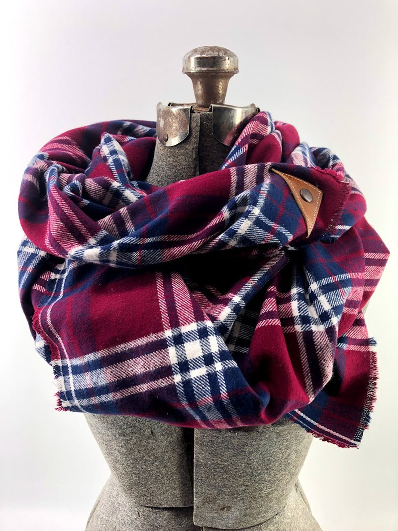 Burgundy Plaid (New) Blanket Scarf with Leather Detail