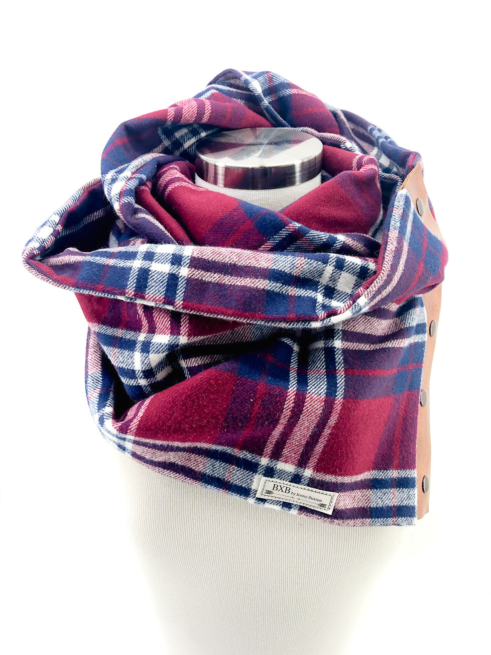 Burgundy Plaid Multi Snap Scarf with Leather Snaps