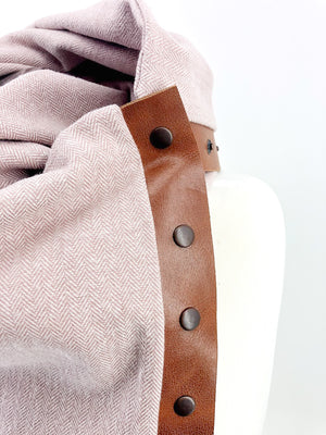 Blush Herringbone Multi Snap Scarf with Leather Snaps
