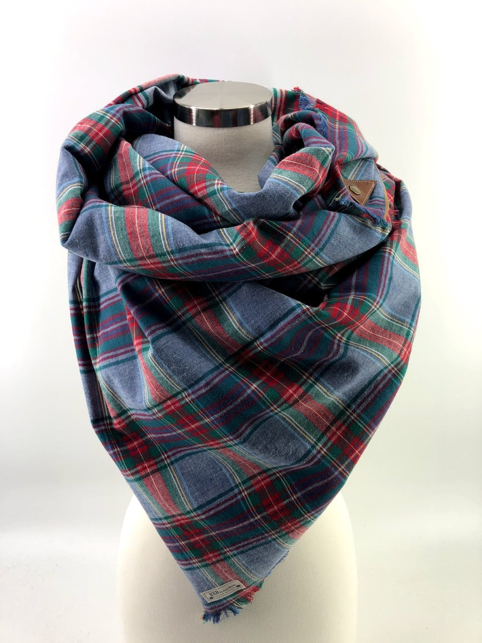 Chambray Blue & Red Plaid Blanket Scarf with Leather Detail