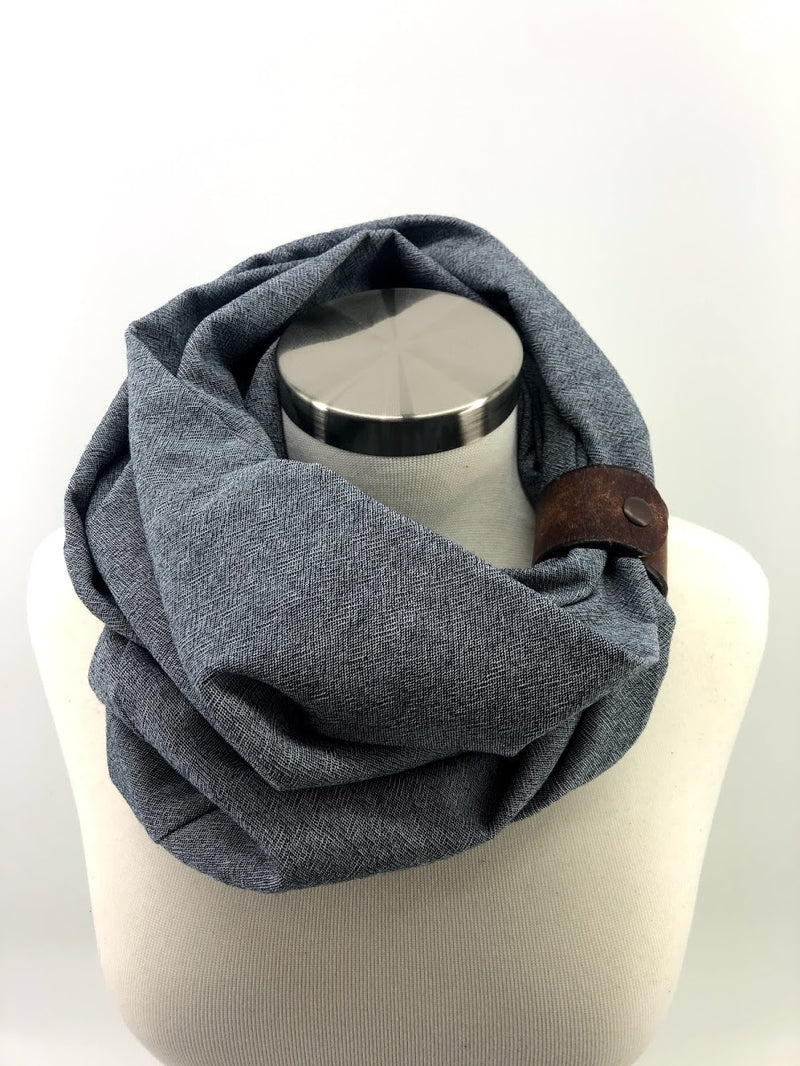 Chambray Gauze Eternity Scarf with a Leather Cuff