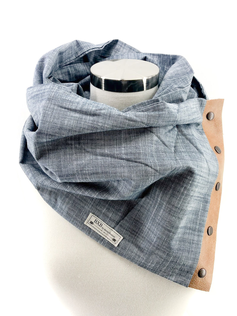 Chambray Multi Snap Scarf with Leather Snaps