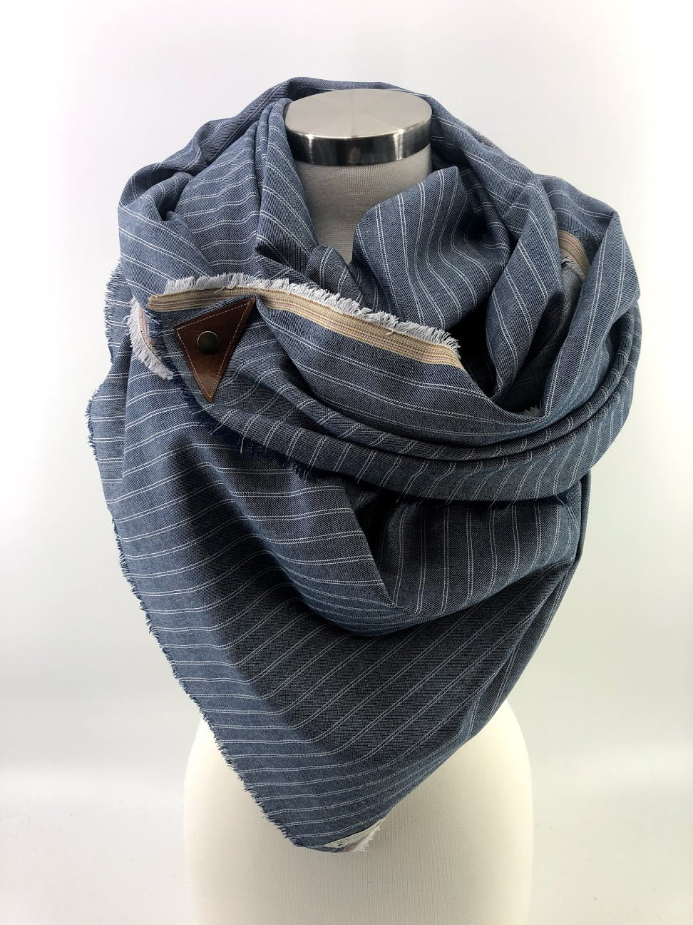 Chambray Striped Blanket Scarf with Leather Detail