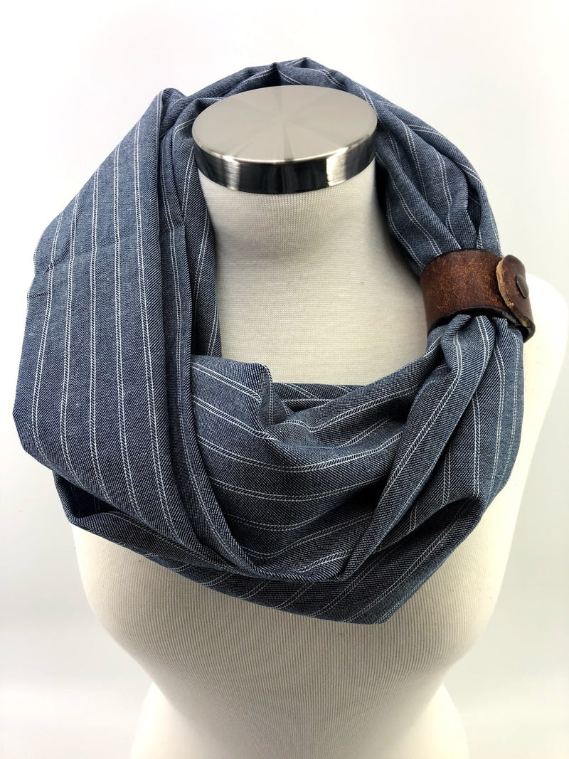 Chambray Striped Eternity Scarf with a Leather Snap