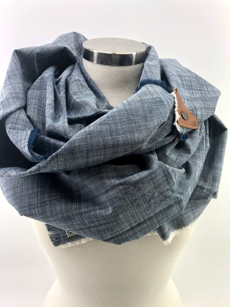 Chambray Blanket Scarf with Leather Detail
