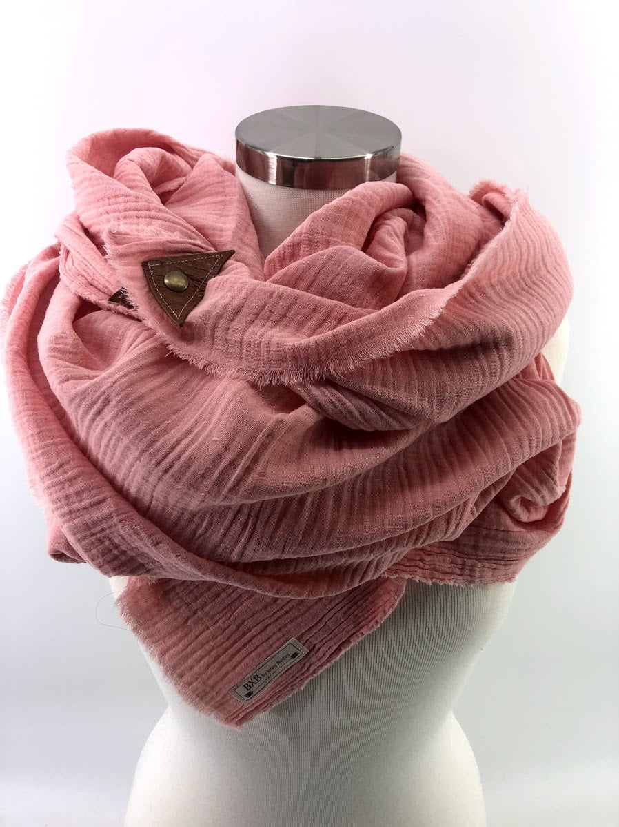 Coral Gauze Blanket Scarf with Leather Detail