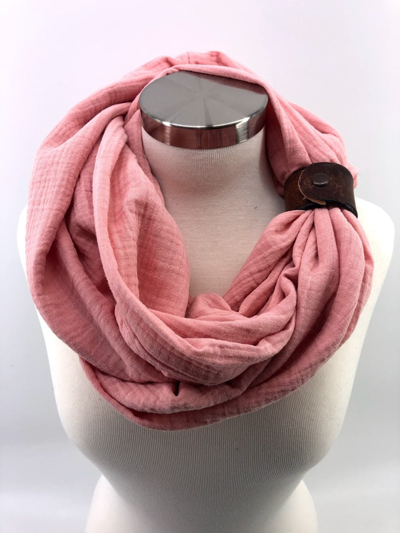 Coral Gauze Eternity Scarf with a Leather Cuff