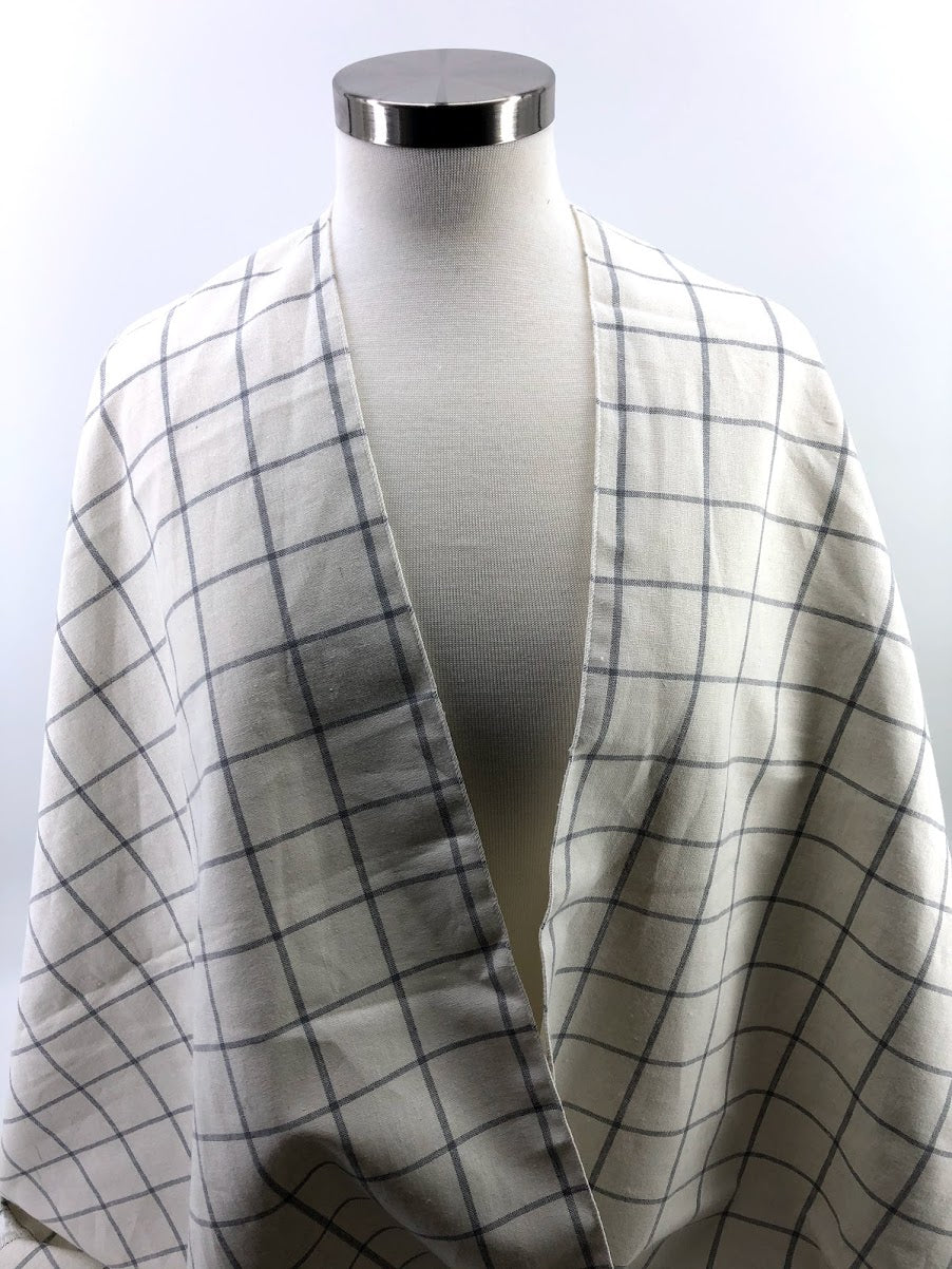 Cream & Gray Linen Windowpane