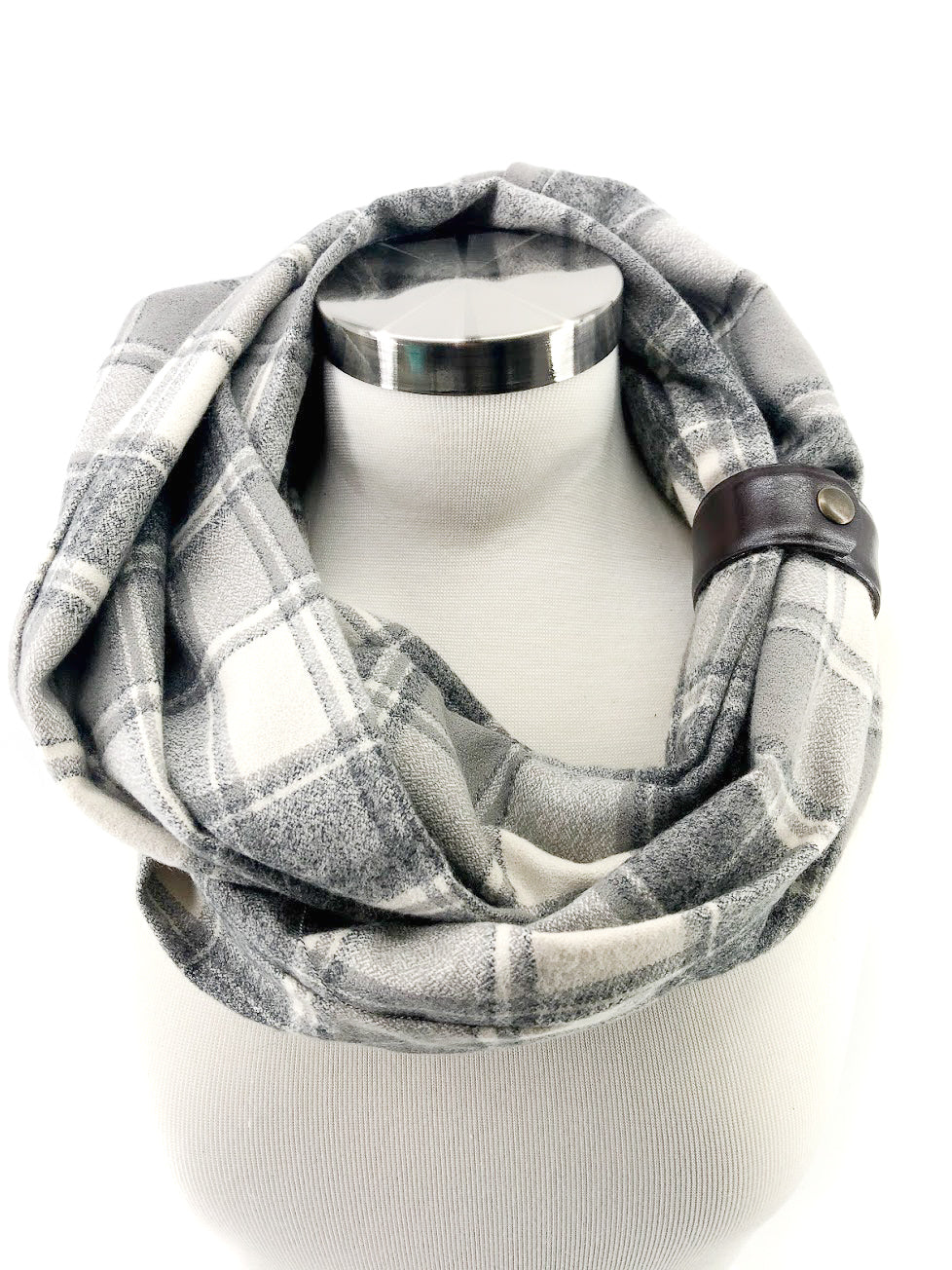 Cream & Gray Plaid Eternity Scarf with a Leather Cuff