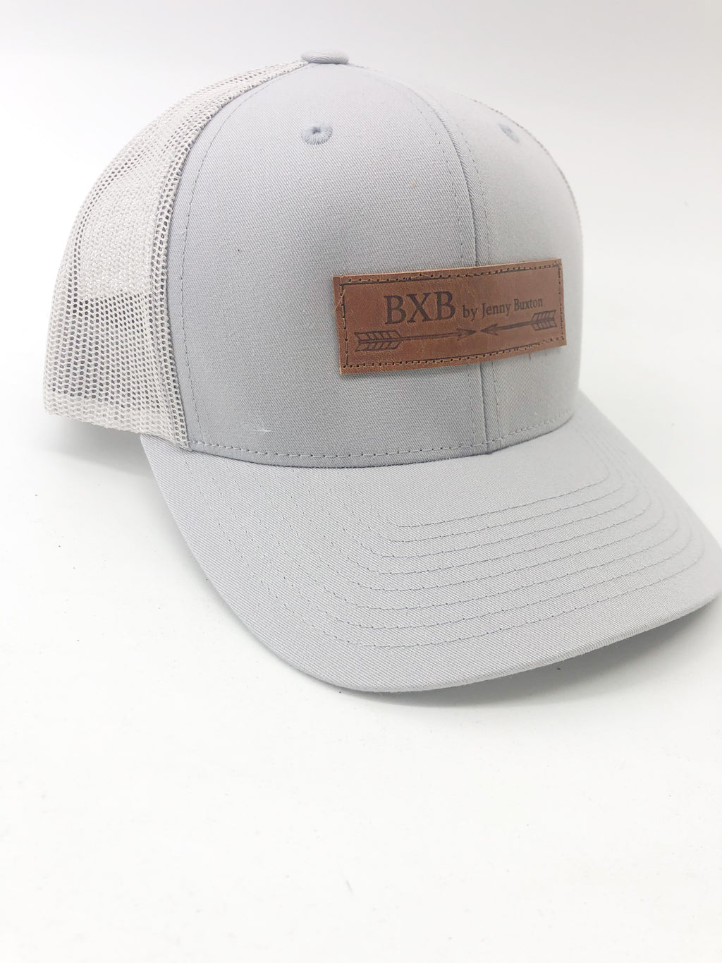 Gray & Gray Mesh BXB Leather Logo Trucker Hat