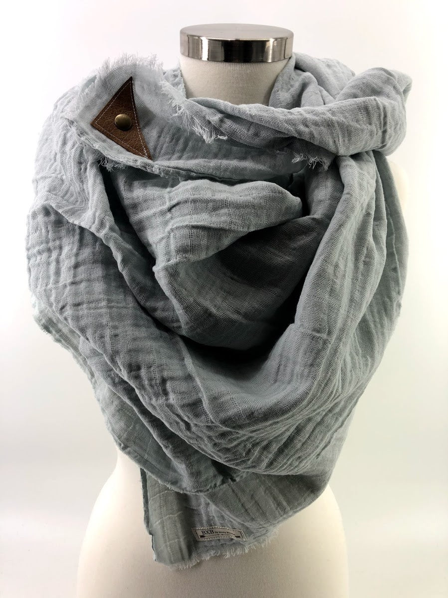 Grey Gauze Blanket Scarf with Leather Detail