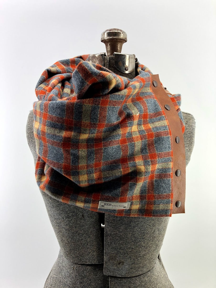 Gray & Rust Plaid Multi Snap Scarf with Leather Snaps