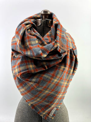 Gray & Rust Plaid (New) Blanket Scarf with Leather Detail