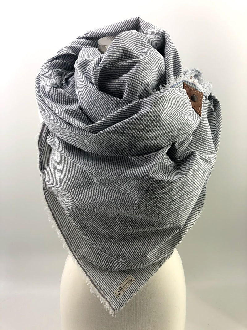 Grey Seersucker Blanket Scarf with Leather Detail