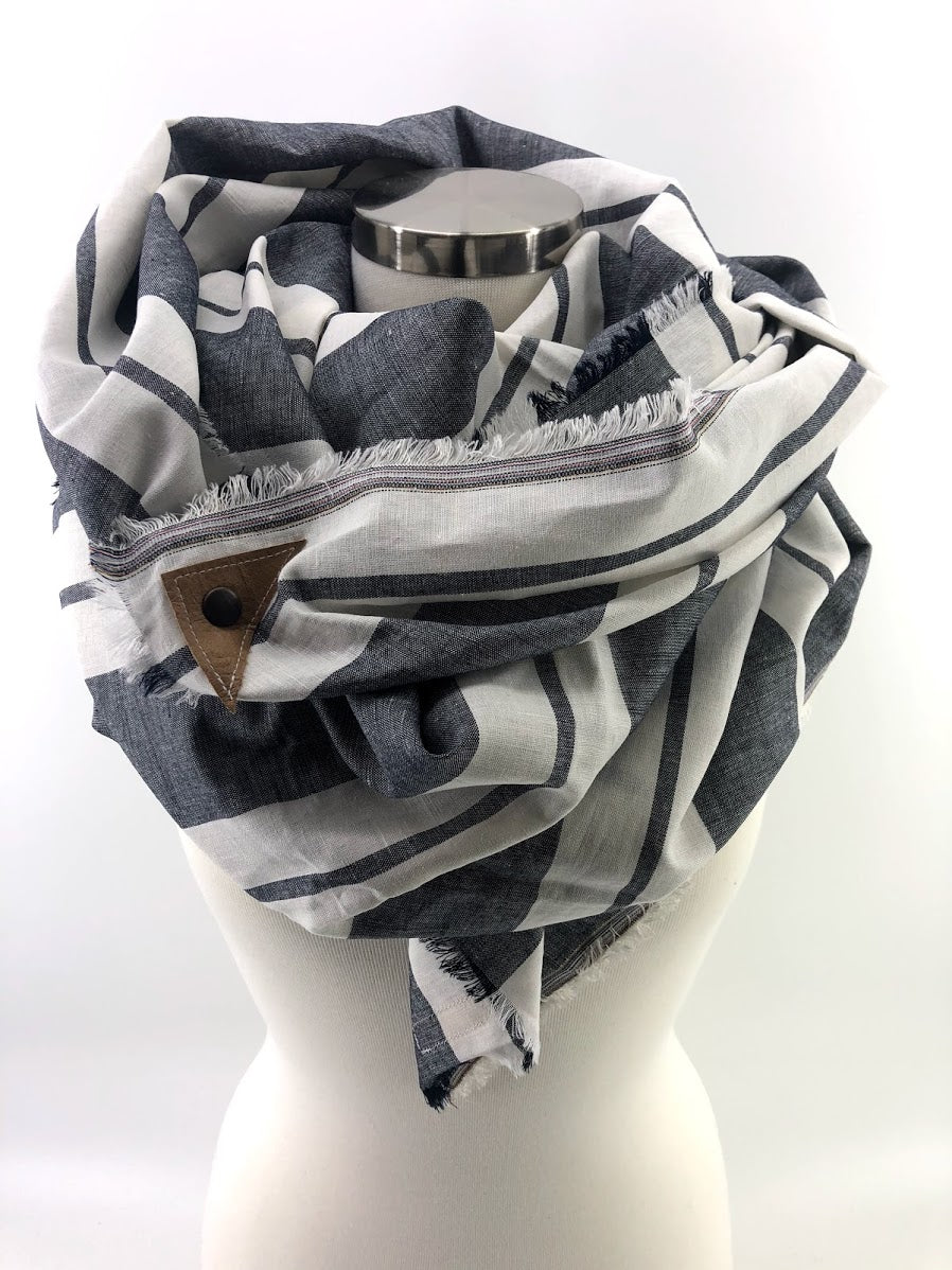 Grey Wide Stripe Linen Blanket Scarf with Leather Detail