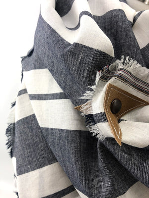 Gray Wide Stripe Linen Blanket Scarf with Leather Detail