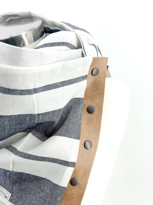 Grey Wide Stripe Linen Multi Snap Scarf with Leather Snaps