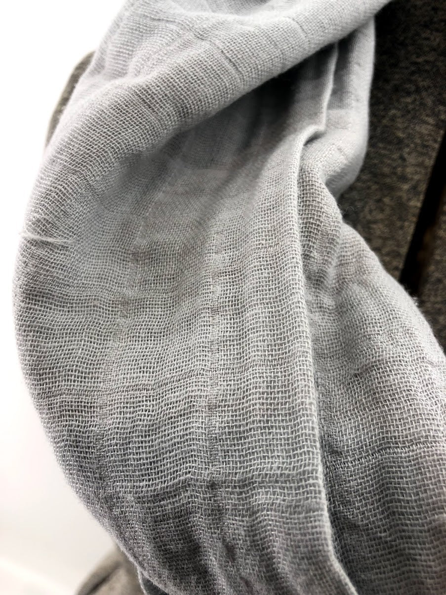Grey Gauze Eternity Scarf with a Leather Cuff