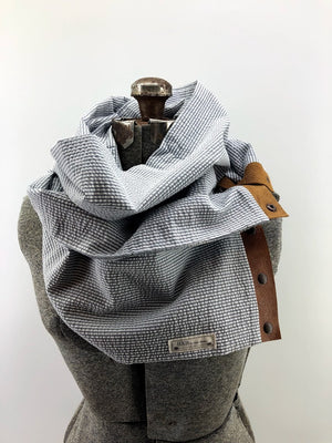 Grey Seersucker Multi Snap Scarf with Leather Snaps