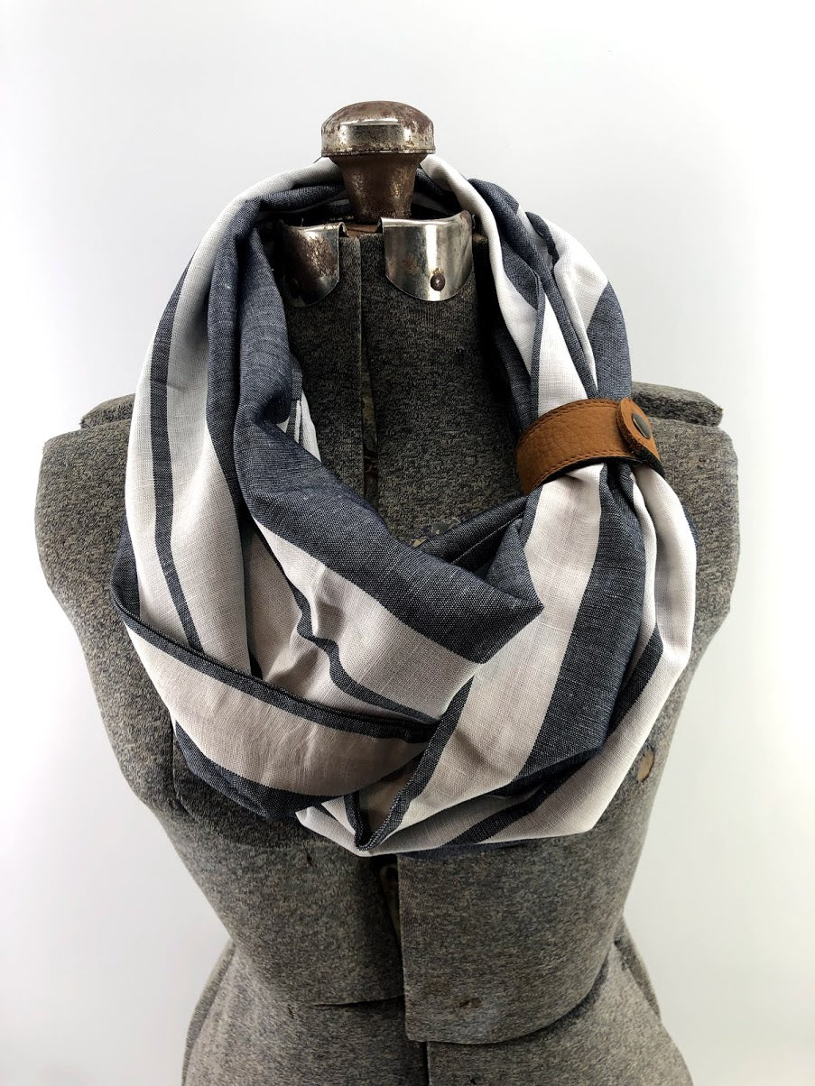 Grey Wide Stripe Linen Eternity Scarf with a Leather Cuff