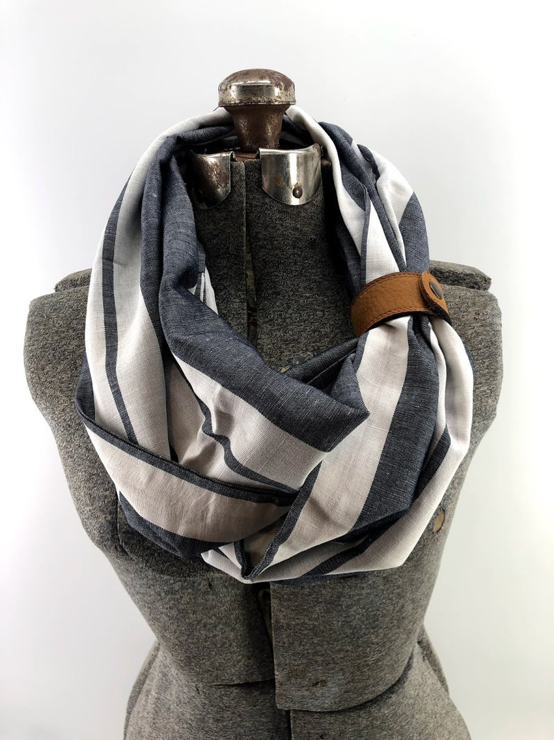 Gray Wide Stripe Linen Eternity Scarf with a Leather Cuff