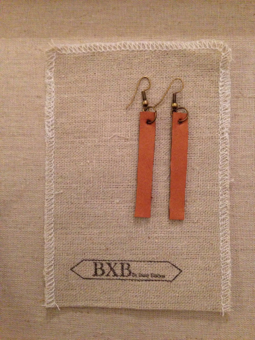 Straight Simple Leather Earrings